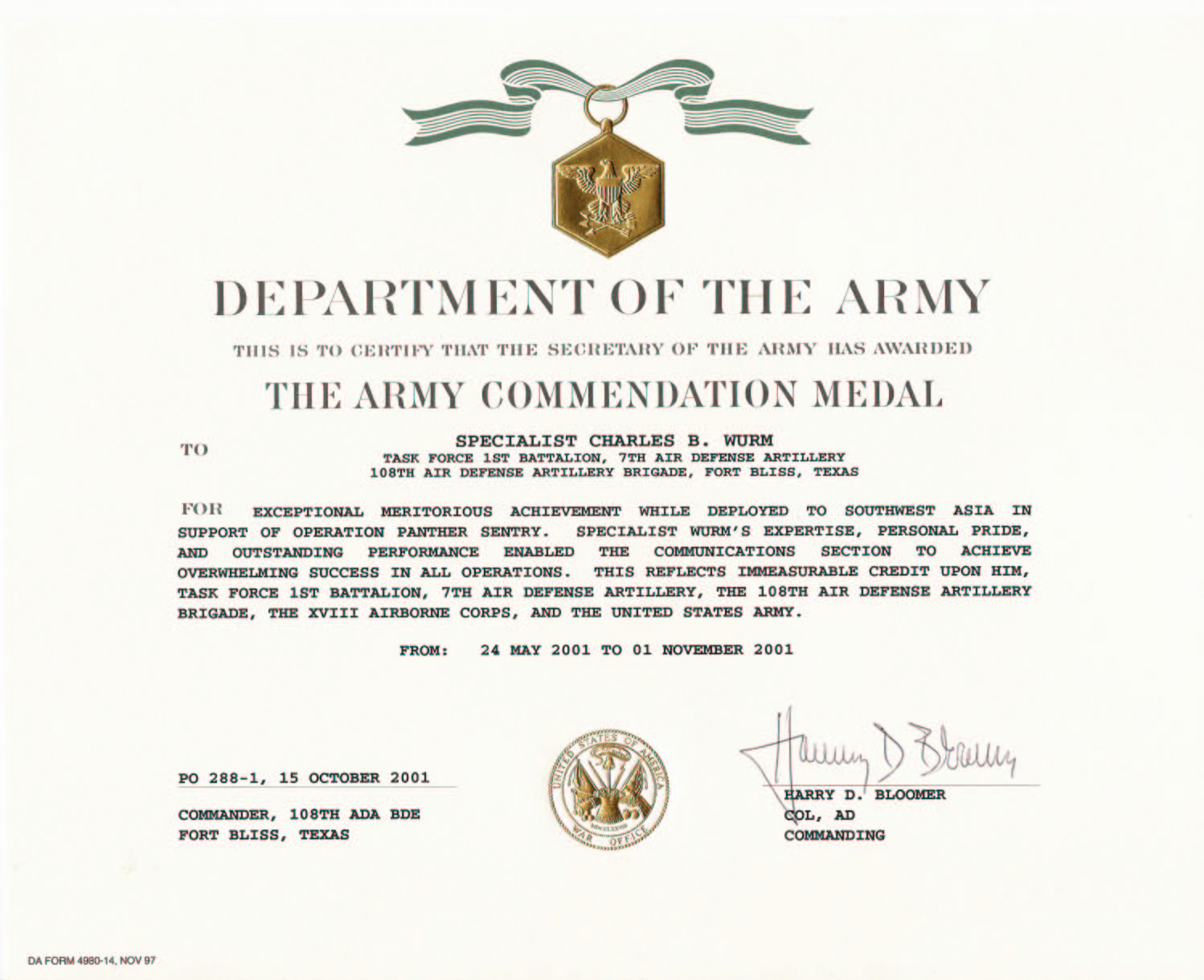 Education awards for Army good conduct medal certificate template